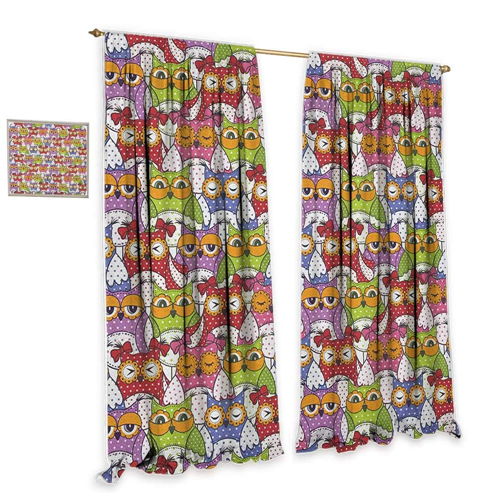 cobeDecor Owl Thermal Curtains Ornate Owl Crowd with Different Sights and Polka Dots Like Matryoshka Dolls Fun Retro Theme Darkening and Thermal Insulating 55'' Wx63 L Multi by cobeDecor
