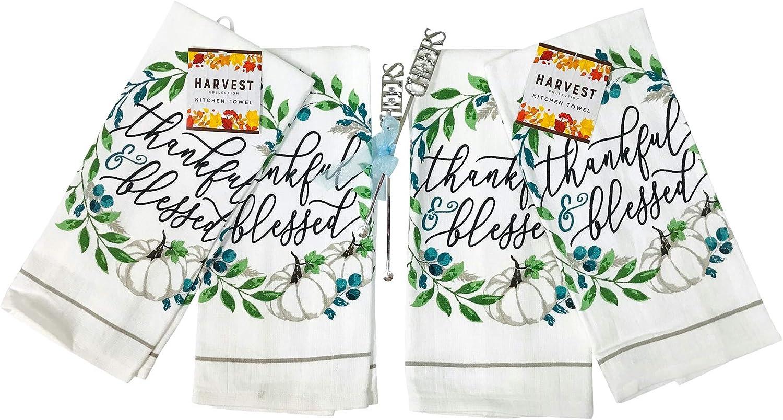 The Prairie Aqua Pumpkin in Fall Leaves Set of 2 Kitchen Towels Soft Absorbent Cotton Dishtowels Fall Home Decor