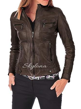 5313138216f Womens Leather Jacket Stylish Motorcycle Biker Genuine Lambskin 65 at  Amazon Women s Coats Shop