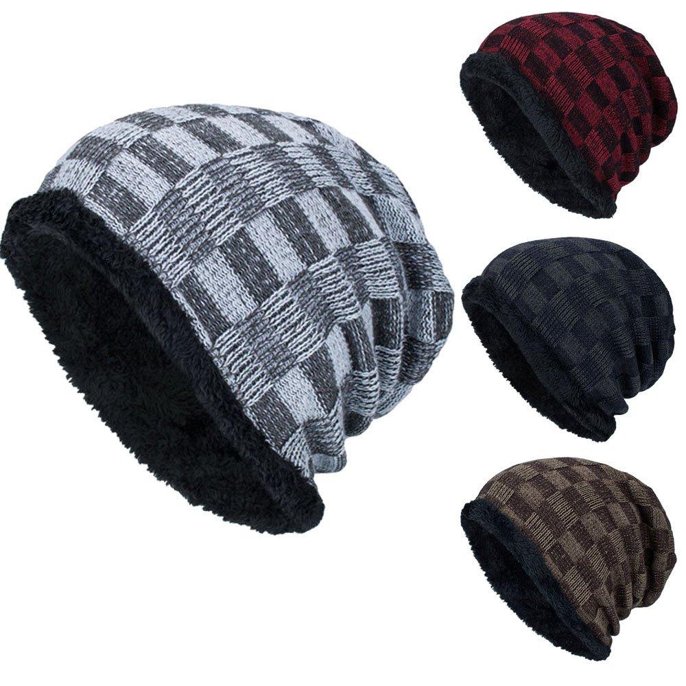 Herren Barett Mütze Weave Crochet Mütze Winter Wolle Strickmütze ...