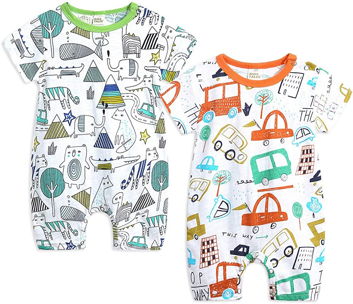 Cycling Printed Unisex Baby Short-Sleeved Romper Jumpsuit