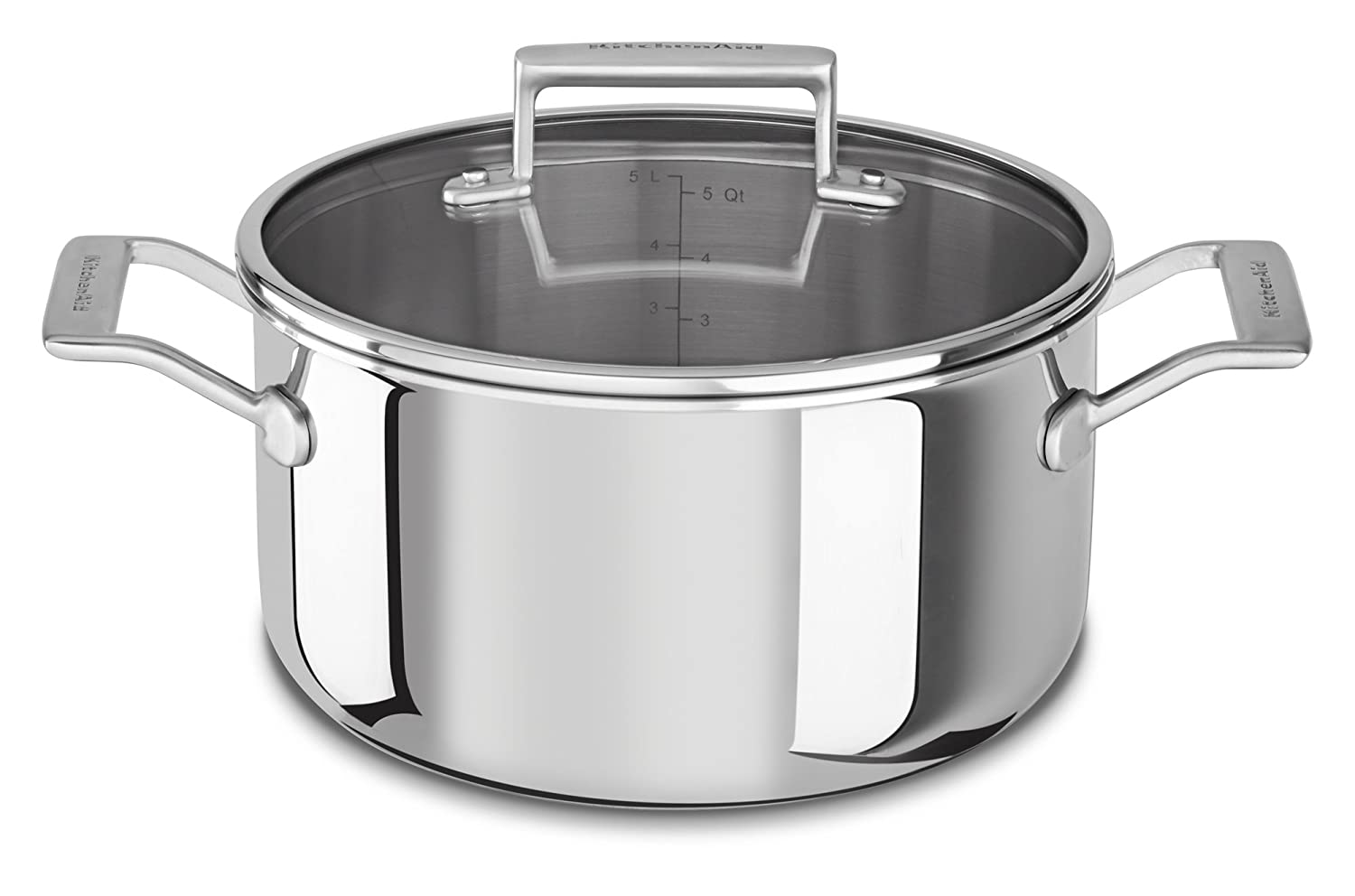 KitchenAid KC2T60LCST Tri-Ply 6 quart Low Casserole with Lid, Stainless Steel, Medium