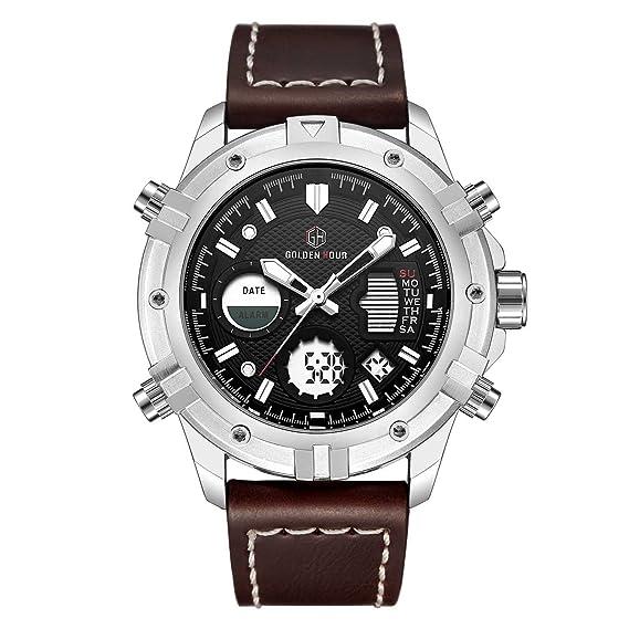 CalUXE - Reloj Digital LED de Lujo para Hombre, Pantalla de Tiempo Dual, cronómetro, Alarma, Calendario, Resistente al Agua: Amazon.es: Relojes