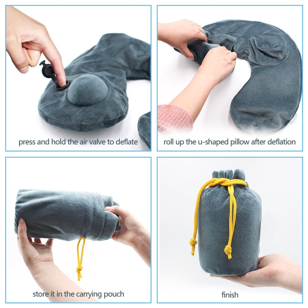 Home or Office Trains Cars ATailorBird Inflatable Neck Pillow Push Button Inflation Travel Pillow with Carrying Bag for Airplanes Buses Grey