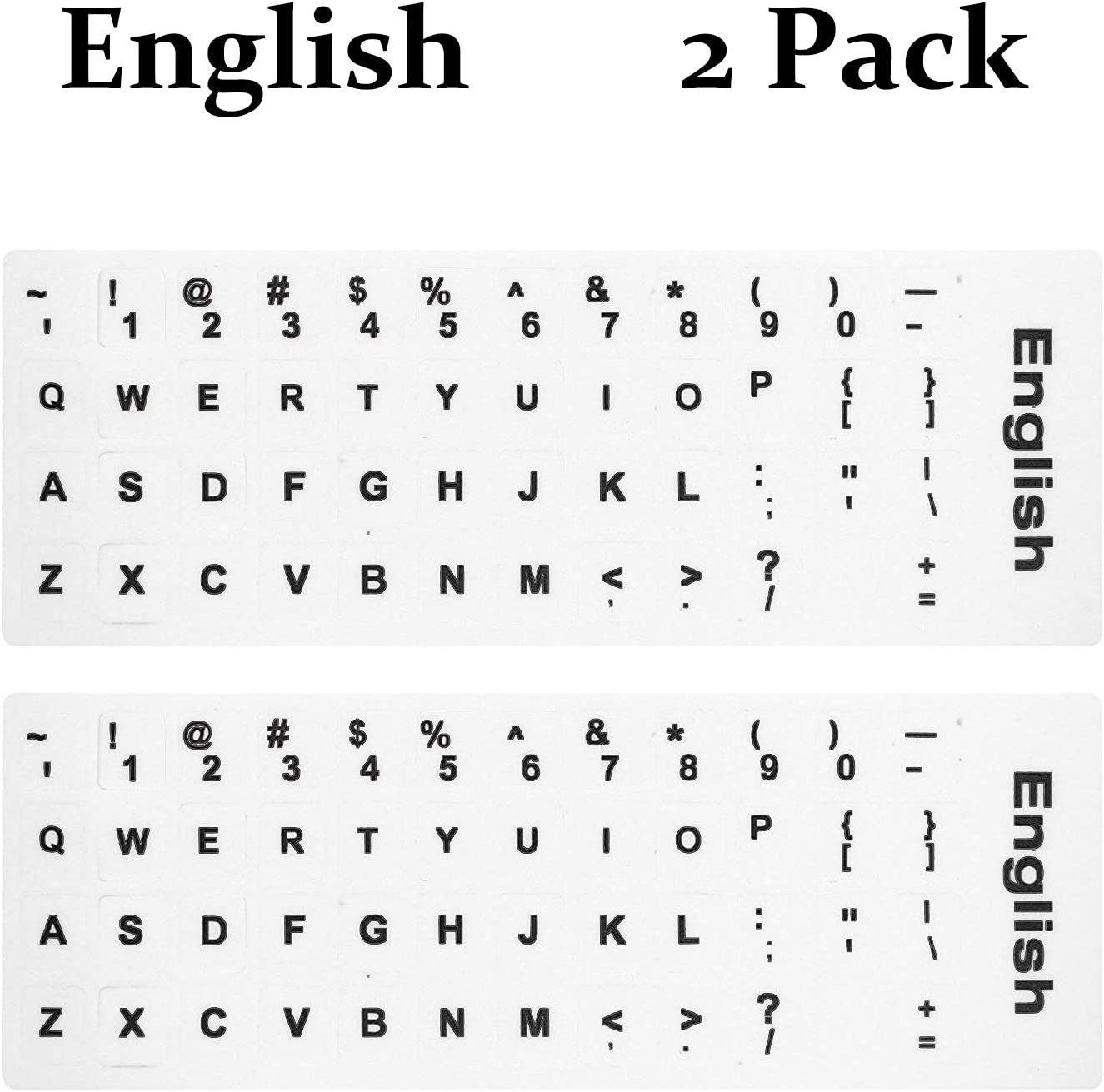 2PCS Pack English Keyboard Stickers English Keyboard Replacement Srickers with White Background and Black Lettering for Computer Notebook Laptop Desktop Keyboards