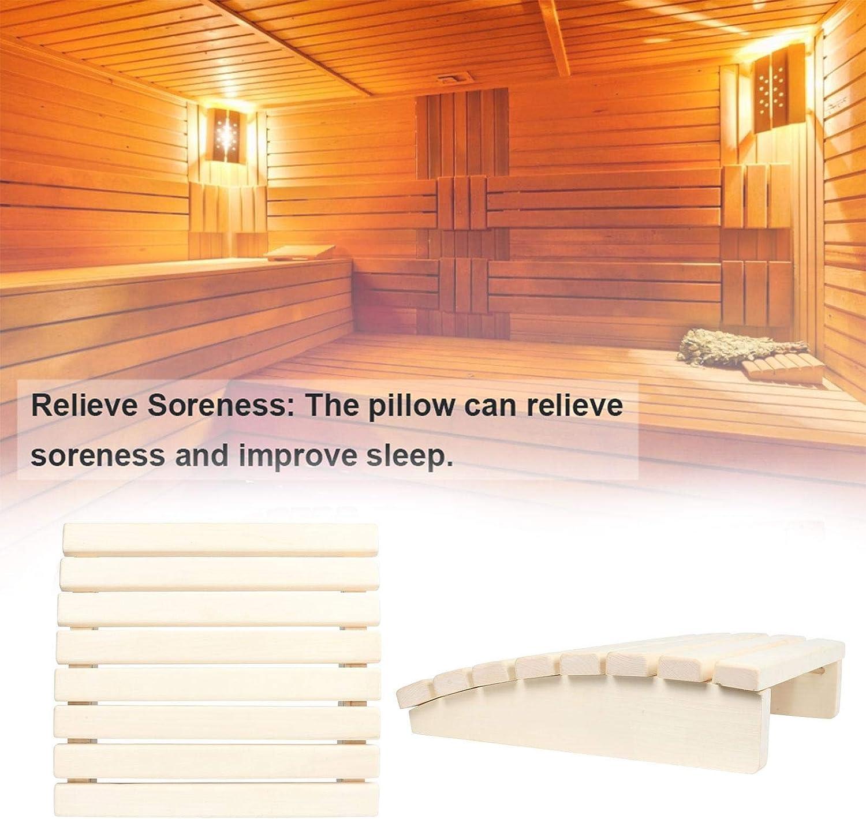 Sauna Headrest Premium Fragrance Wooden Pillow Head Support Natural Pine Wood Headrest for Stiff Neck Shoulder Spinal Health Pain Massage Relax Pain Relief Bathroom Sauna Spa