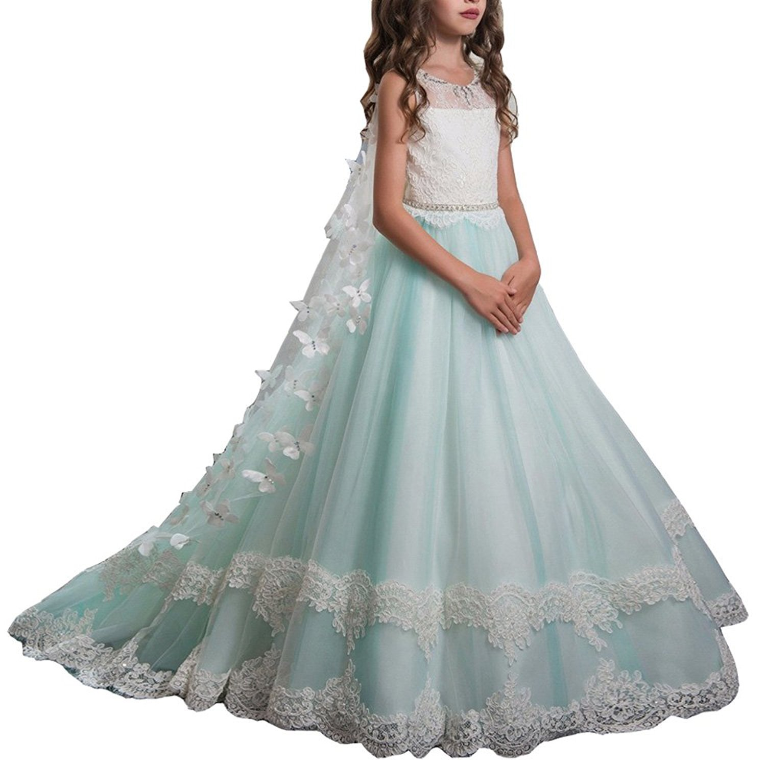 Amazon.com: Y&C Girls Starp Chest Full Crystal Ball Gown Floor ...