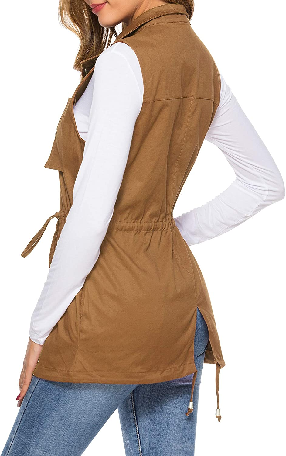 UUANG Womens Zip Up Drawstring Sleveeless Jacket Military Vest Outerwear w//Two Pockets