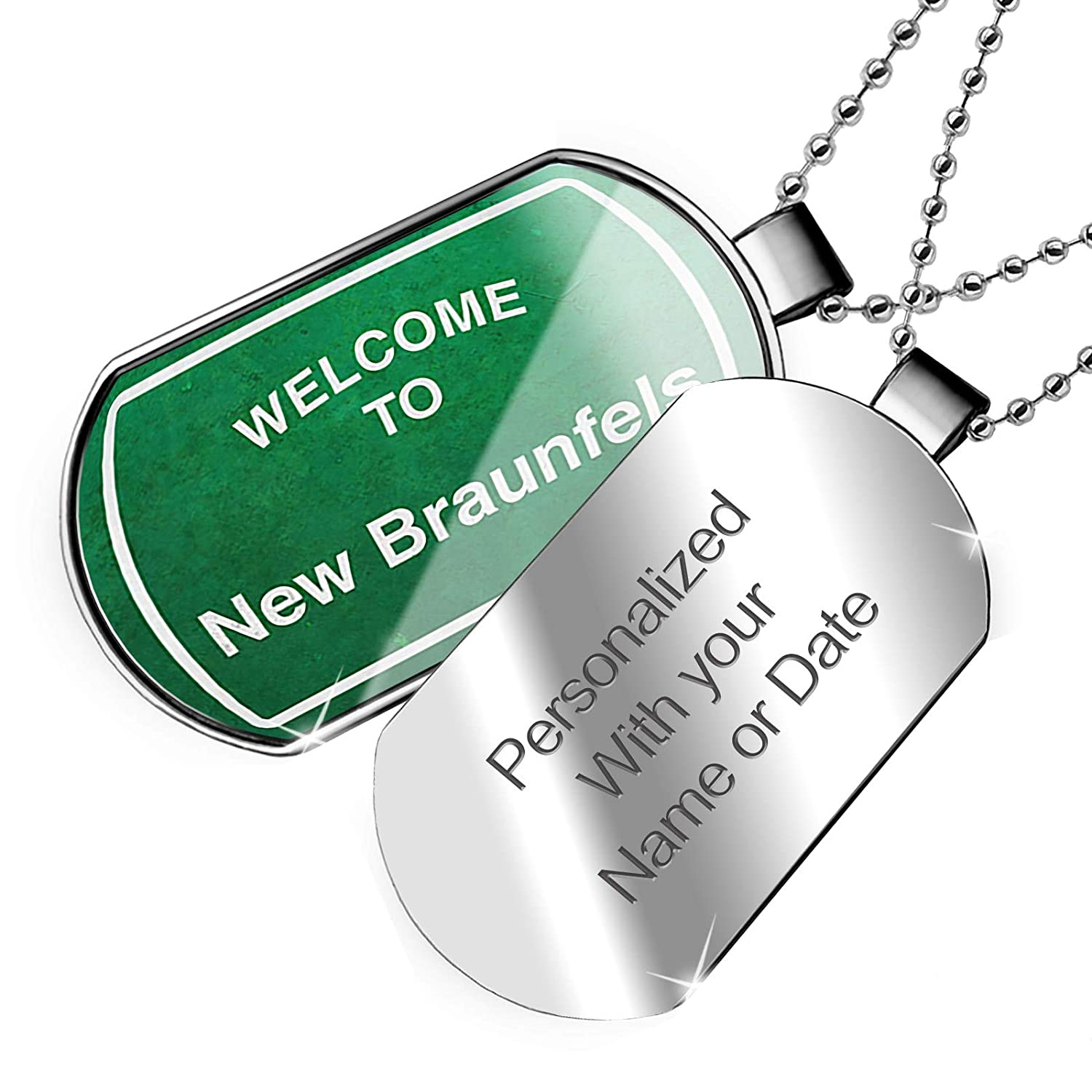 NEONBLOND Personalized Name Engraved Green Road Sign Welcome to New Braunfels Dogtag Necklace