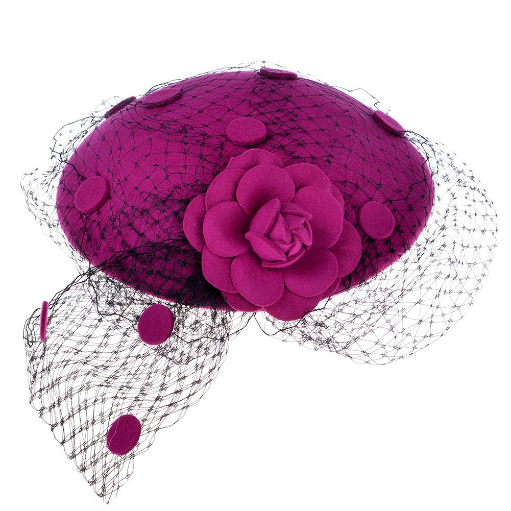 1950s Style Hats for Sale  Pillbox Hat Wool Felt Hat Bow Veil for Women $17.59 AT vintagedancer.com