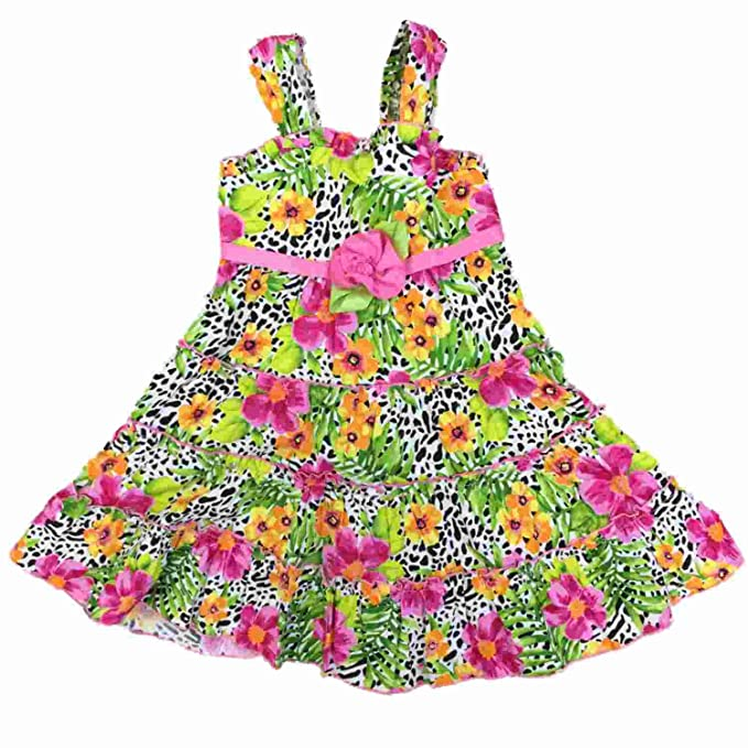 Little Girls Ruffled Floral Cheetah Leopard Dress Animal Print Flower  Sundress 5 03d8d760f