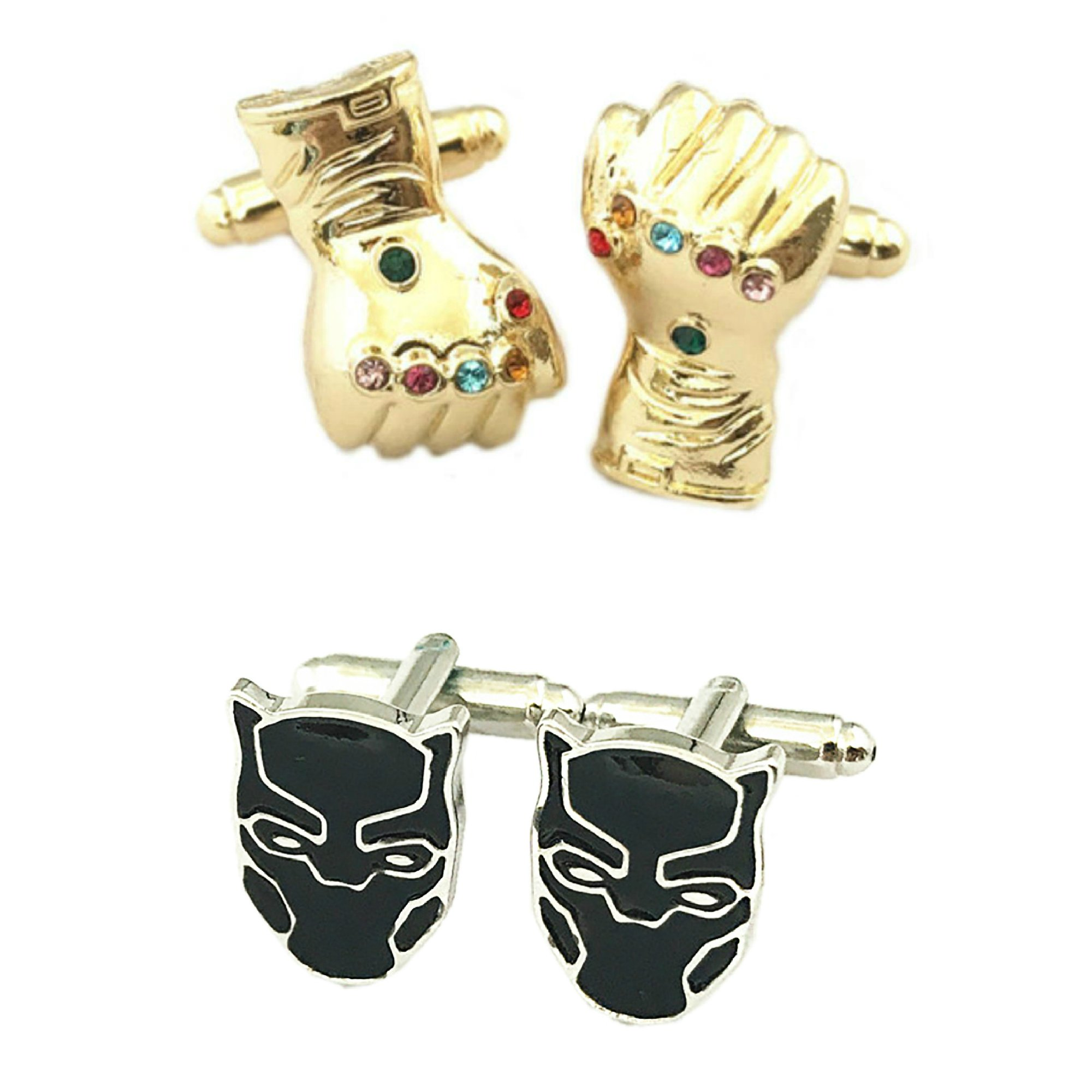 Outlander Gear Marvel Comics 2 Pairs Thanos & Black Panther Superhero 2018 Movie Mens Boys Cufflinks