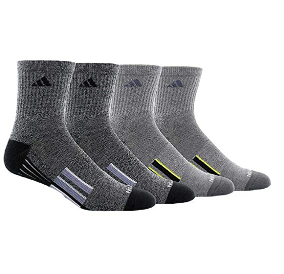 cheap for discount d0a3f 674f4 Amazon.com adidas Mens Performance Climalite High Quarter Compression  Socks, 4 Pair - Shoe Size (6-12) (2 Black - 2 Grey) Sports  Outdoors