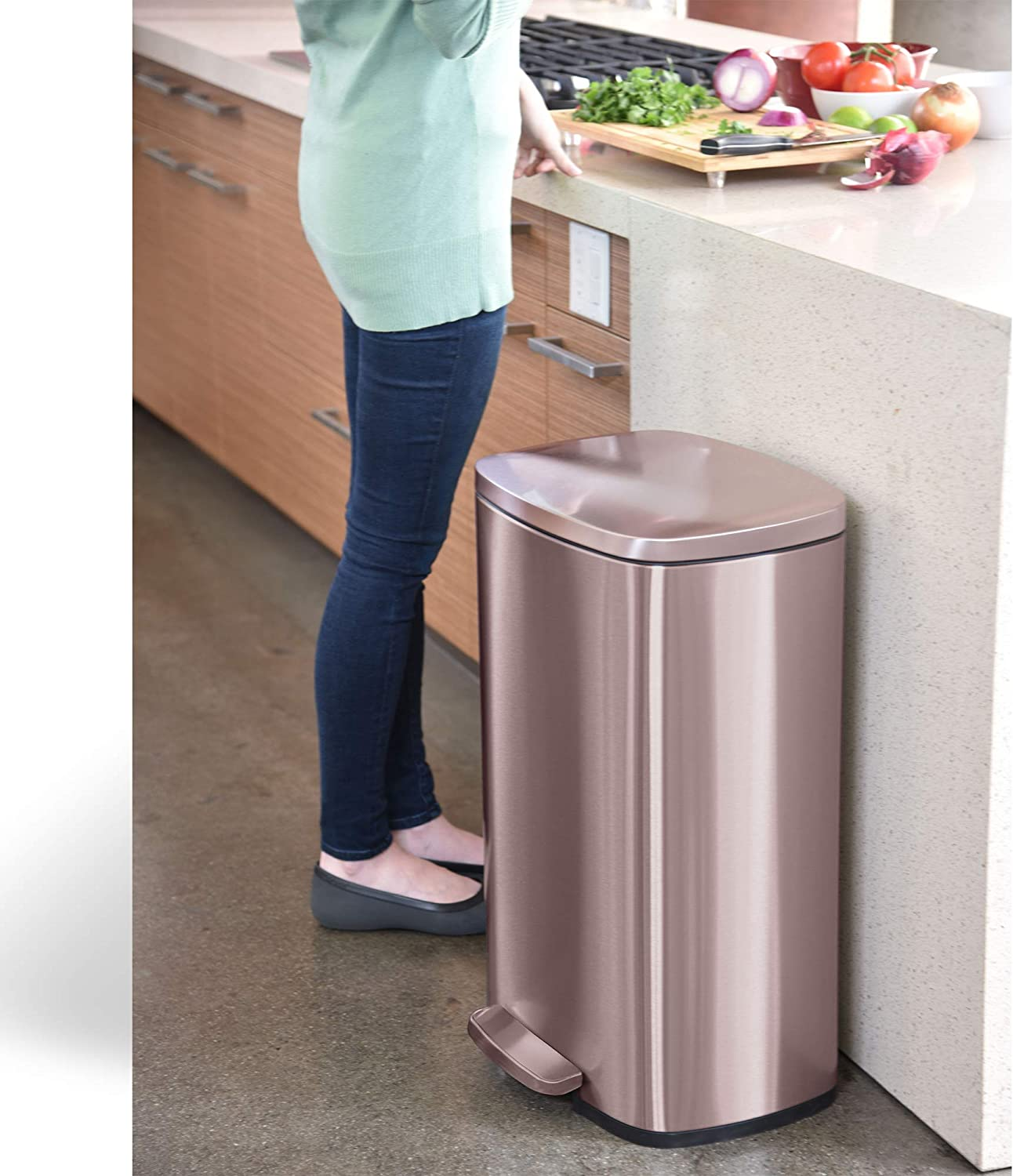 Silent and Gentle Open and Close, Office 50 Liter Trash Bin for Kitchen Home iTouchless SoftStep 13.2 Gallon Rose Gold Stainless Steel Step Pedal Garbage Can with with Odor Control System