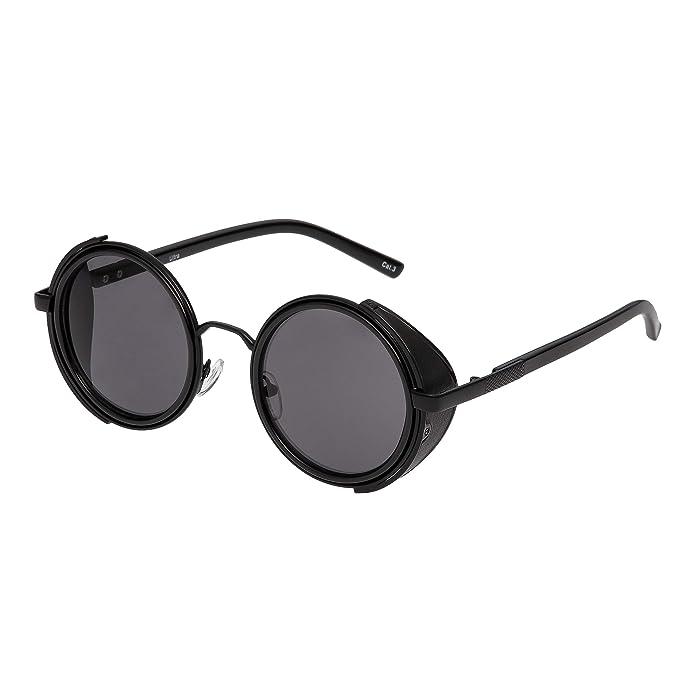 0db578a2f63 Ultra Black with Black Lenses Steampunk Sunglasses Goggles Premium Retro  Women Men Round Rave Gothic Vintage