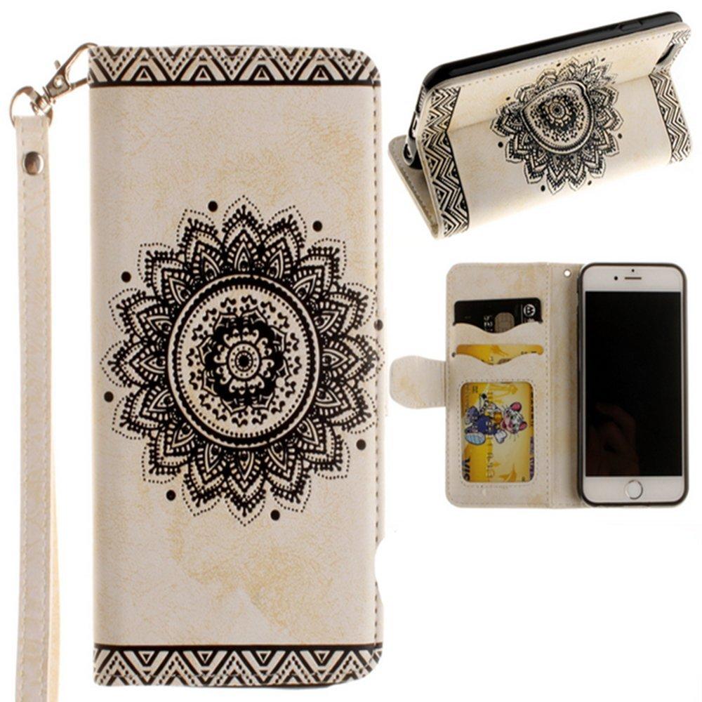 iPhoneフラワー財布case-auroralove IphoneクラシックEthnic曼荼羅花柄PUレザーカードスロットスタンド機能ケースwith Leather Strip forガールズレディース iPhone 7 Plus/7s Plus 5.5 ホワイト B01M3S2EYD iPhone 7 Plus/7s Plus 5.5|ホワイト