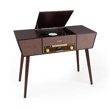 auna Belle Epoque 1912 Tocadiscos Retro - 3 velocidades: 33 1/3, 45 y 78 RPM, Reproductor de CD, Radio Dab+/UKW, Bluetooth, Función grabación USB, 2 ...