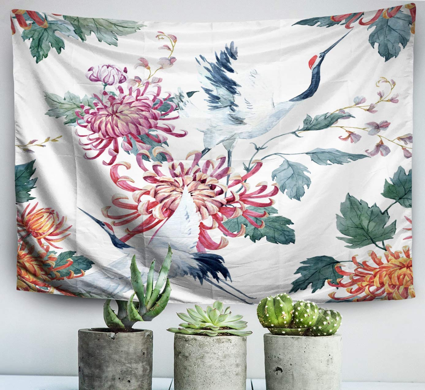 ROOLAYS Home Art Decor Wall Hanging Tapestry Watercolor Pattern Red Heads Crane Chrysanthemum Flowers Asian Traditional Motif with 60x50 Inches for Living Room Dorm Background Tapestries