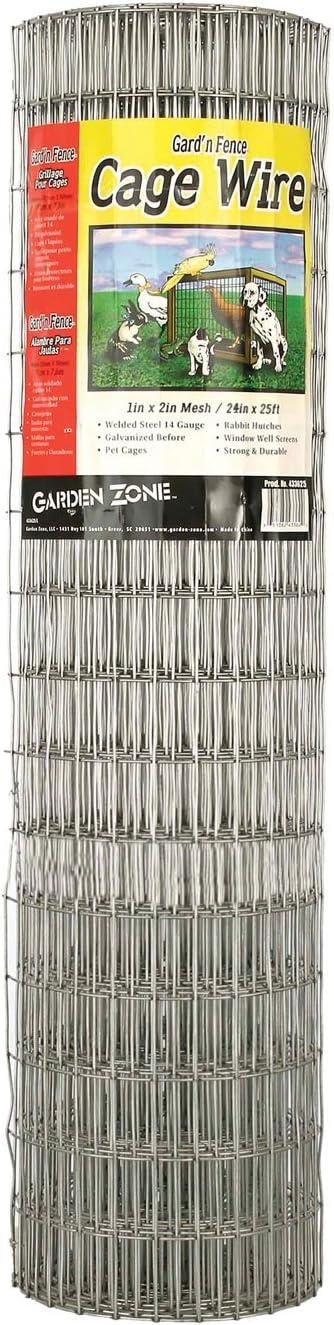 """Garden Zone 432425 1"""" x 2"""" Mesh 14-Gauge Galvanized Wire Fence, 24"""" x 25'"""