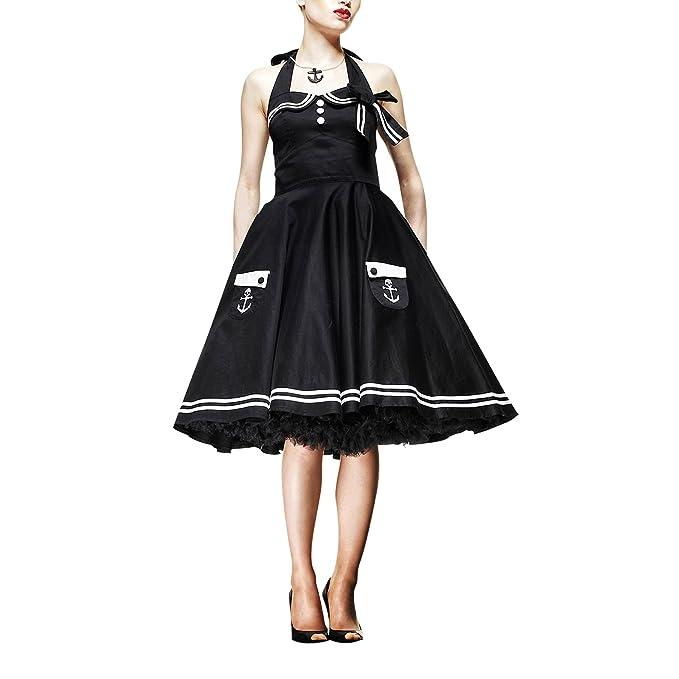 Hell Bunny – Motley Maritim Rockabilly Vestido (Negro) (XS – XL) negro