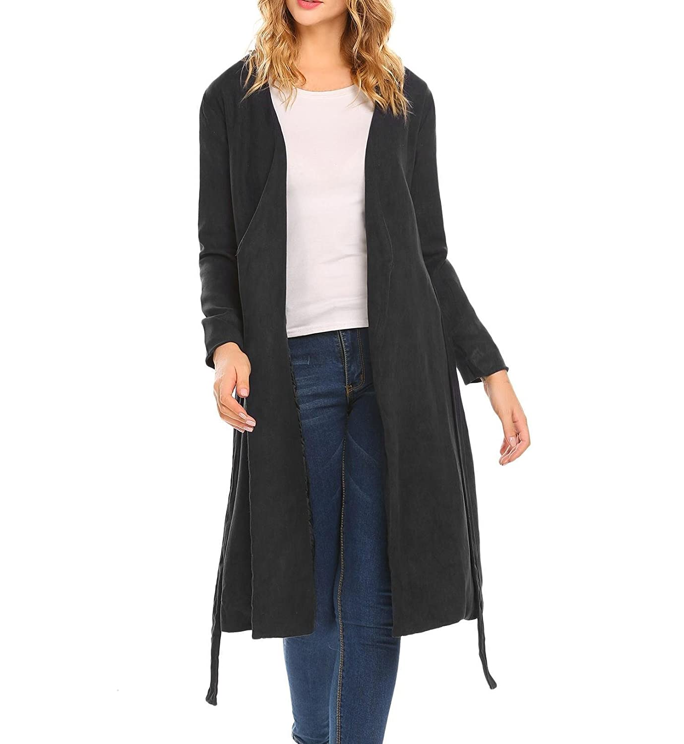 Dethler Women's Open Front Long Trench Coat Solid Knitted Sweater Faux Cardigan