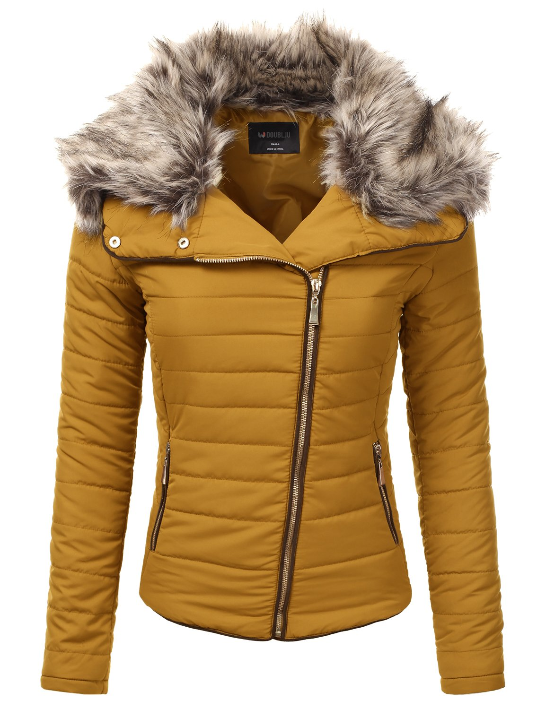 JJ Perfection Women's Zip Up Quilted Fur Trimmed Hood Padding Jacket DARKMUSTARD S