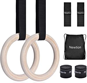 Newtion Wooden Professional Gymnastic Fitness Rings with 15ft Adjustable Buckle Straps Anti-Slip Sweat-Absorbent Hand Tape Exercise Rings for Cross-Training Workout, Gymnastics, Bodybuilding, Pull-Ups