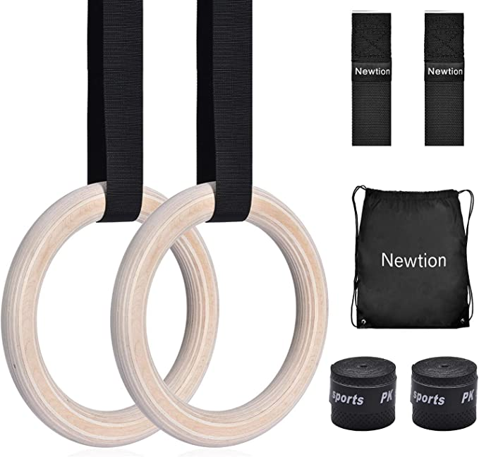LIOOBO Wooden Gymnastic Rings with Adjustable Straps Exercise Rings for Kids Training Workout Strength Training Fitness Outdoor Backyard Play