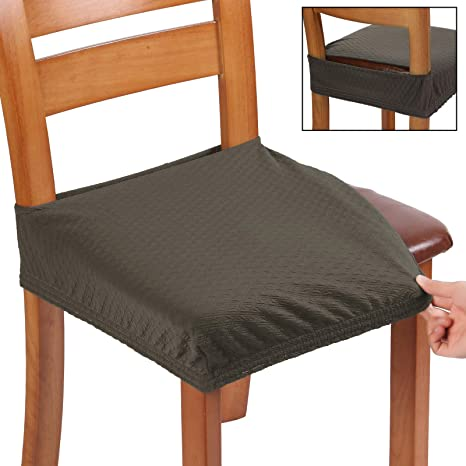 Amazon Com Buyue Fast Installation Dining Chair Covers Jacquard Stretch Seat Covers For Kitchen Upholstered Armless Chairs Slipcovers Rear Gapped Set Of 2 Brown Kitchen Dining