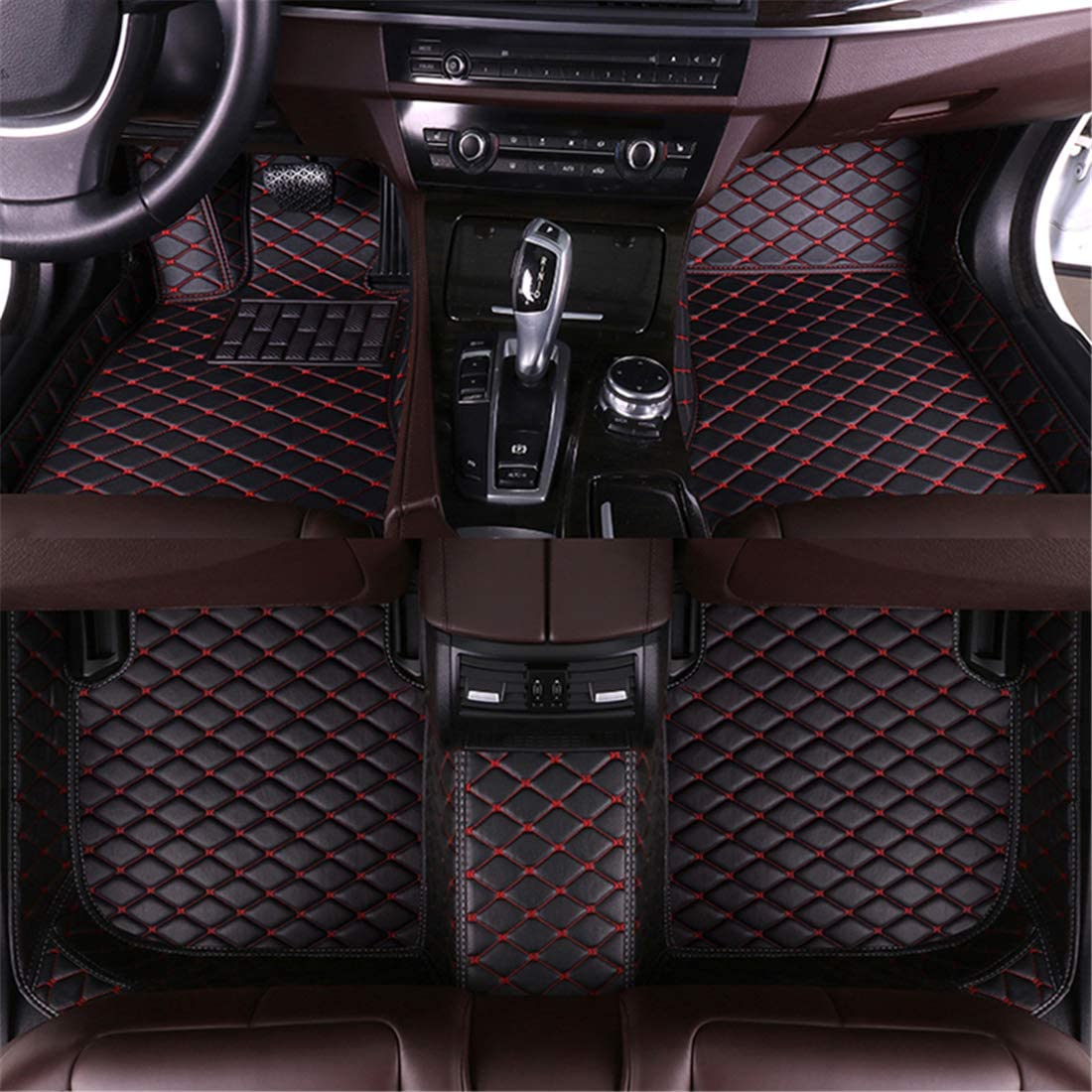 Muchkey car Floor Mats fit for Nissan 350Z 2003-2007 Full Coverage All Weather Protection Non-Slip Leather Floor Liners Black-Red
