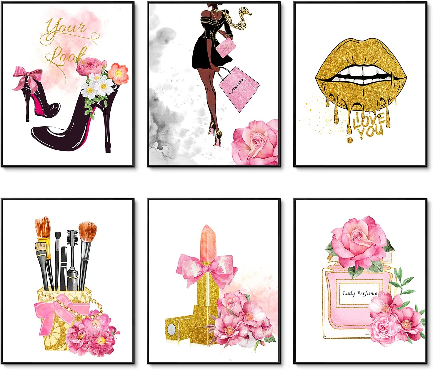 Pink Flower Perfume Golden Makeup Art Posters Set of 6 Fashion Canvas Wall Art Prints Makeup Decor Pictures for Bedroom Decor Girls Room Wall Decor (8