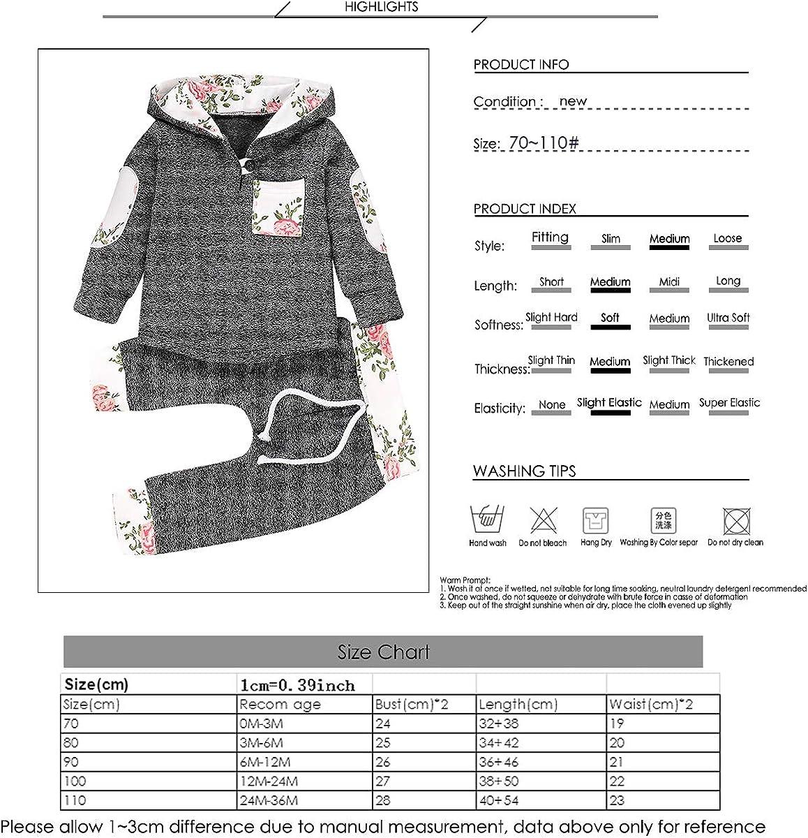 2 Piezas Borlai Baby Boy Girl Sudadera con Capucha Pantalones y Tops Conjuntos de Ropa Conjuntos de Regalos de Sudadera Encantadora de Moda 0-36 Meses