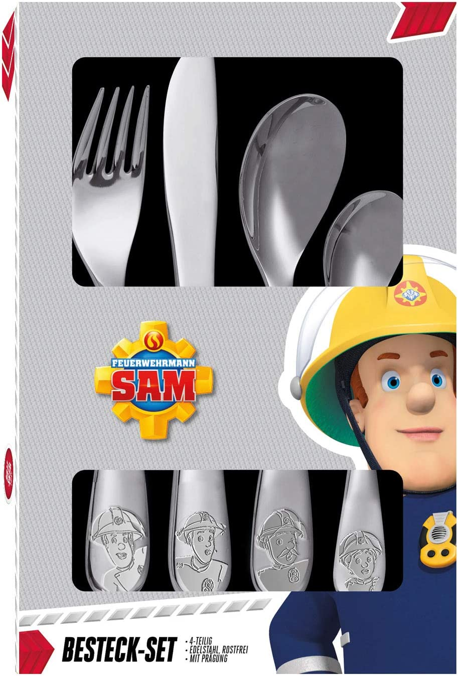 Consisting of Knife POS 27138 Cutlery Set with Fireman Sam Embossing Large and Small Spoon Fork Dishwasher Safe 4 Piece Childrens Cutlery Set Made of Stainless Steel
