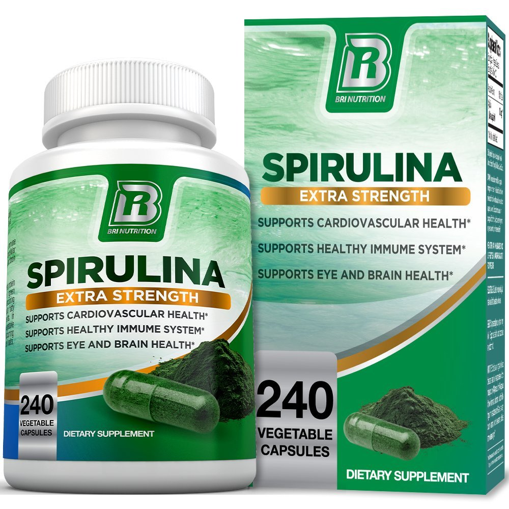BRI Spirulina 2000mg Maximum Strength Premium Quality Spirulina Superfood Powder, Packed w Antioxidants, Protein and Vitamins in Easy to Swallow Vegetable Capsules (240 Count)