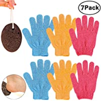 IHUIXINHE 3 Pairs Exfoliating Gloves Body Scrubber 3 Colors + 1 Pc Natural Earth Lava Pumice Stone Oval Dark Brown Premium Callus Remover for Body Shower Spa Massage Dead Skin Cell Remover Foot Callus
