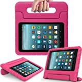 Surom Kids Case for All-New Amazon Fire 7 2017,ShockProof Case Light Weight Case Protection Cover Handle Stand for Children for Fire 7 inch Display Tablet (7th Generation - 2017 Release),Rose Pink