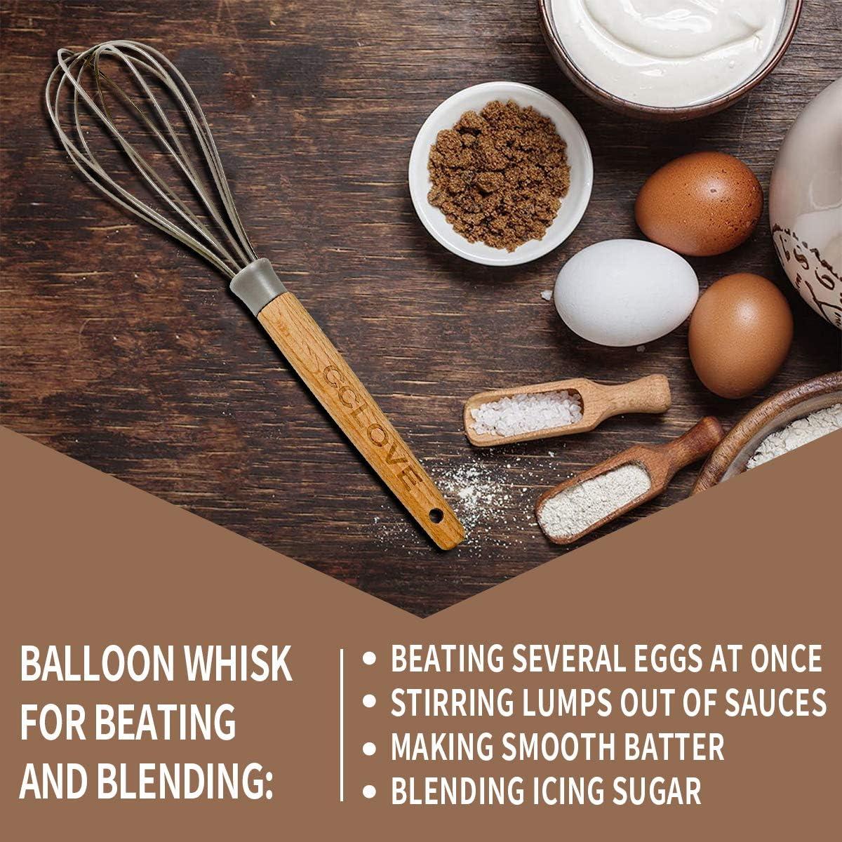 Fouet ballon Couverts de cuisine en silicone remuer et fouet M/élanger Fouets en silicone Ne rayez jamais les po/êles antiadh/ésives Ustensiles de cuisine