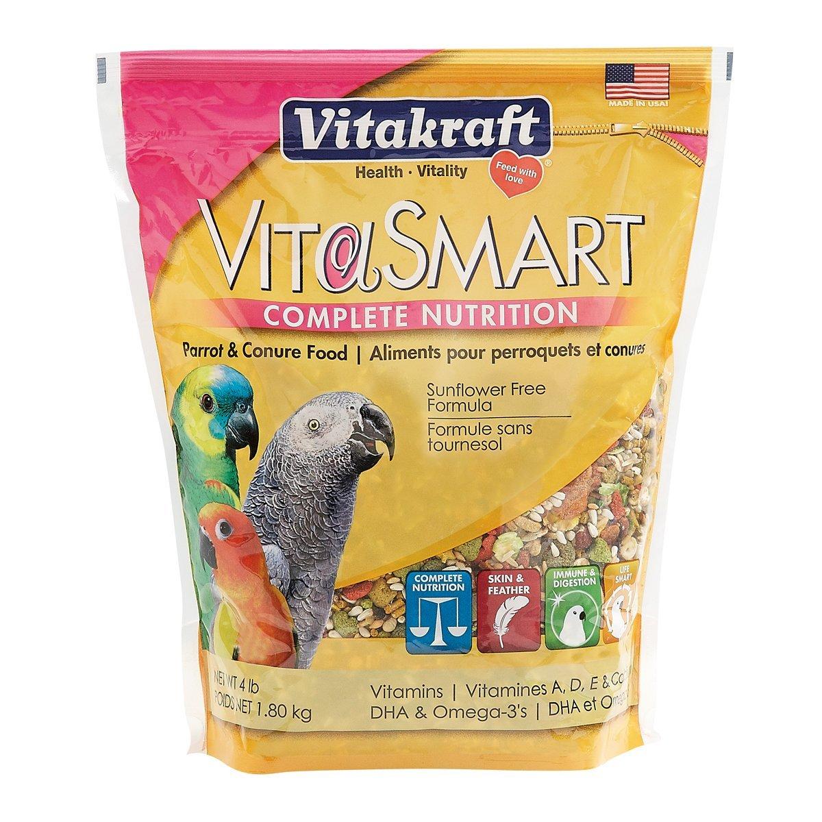 Vitakraft Vitasmart Parrot & Conure Food - Sunflower Free Formula, 4 Lb. by Vitakraft