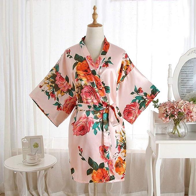 HUIFANG Pijamas De Satén para Mujer, Pintadas A Mano, Pijamas De Verano, Bata Transpirable Suelta, Bata De Baño (Color : Pink, Tamaño : One Size): ...