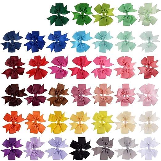 40Pcs Grosgrain Ribbon Pinwheel Boutique Hair Bows Clips For Girls