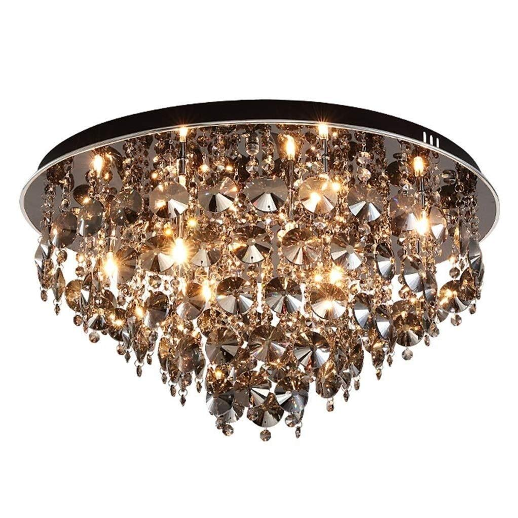 Office Ceiling Lights Round Crystal Chandeliers Bedroom Study Modern LED Adjustable Height Light Restaurant Warm Ceiling Lamp-Black Energy Level A+++ (Size : 606032cm) by Xk-Ceiling Lights