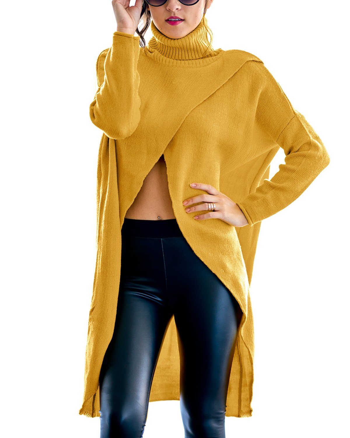 GIKING Women's Casual Plus Size Long Sleeve Chic Loose Knit Turtleneck Pullover Sweater Yellow XL