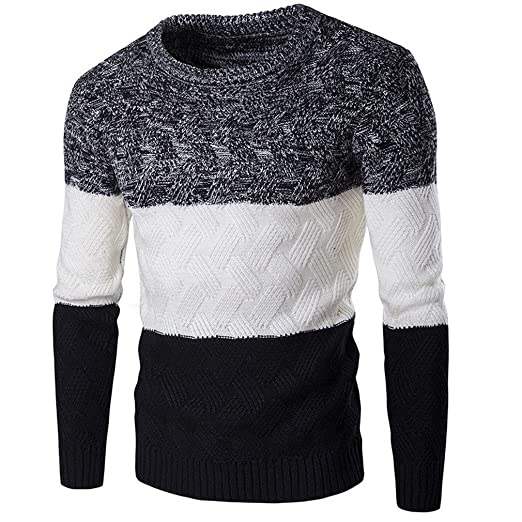 4e9ff74912eca8 Chi Chi Warm Long Sleeve Striped Sweater Slim Fit Knitting Thicker Male  Round Neck Winter Pullover