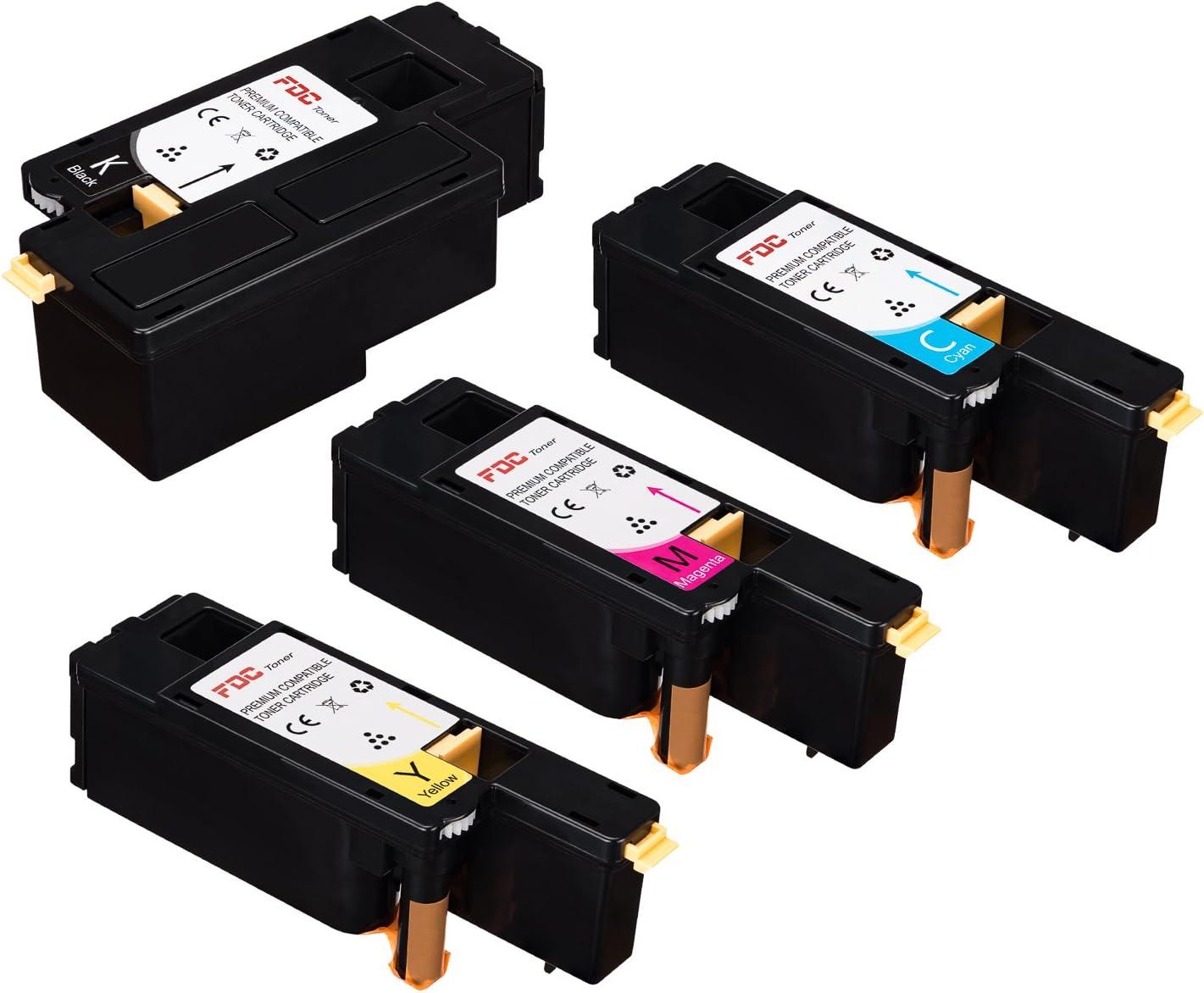 FDC Toner Compatible Dell Color Multi-Function E525W E525 525W Printers Toner Cartridges 4 Pack Replacement for 593-BBJX Black, 593-BBJU Cyan, 593-BBJV Magenta, 593-BBJW Yellow