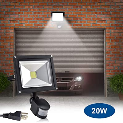 20W Led Motion Sensor Flood Lights Outdoor, PIR Induction Lamp, Intelligent Light, 6000K, Cool White, 160W Bulb Equivalent, 1600lm, Super Bright Waterproof Security Floodlight