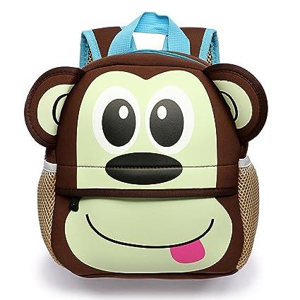 BTSKY Cartera Escolar Infantil con Asa Doble Mochila Graciosa con Diseño de Animales como Mono Tigre Jirafa Ligero Tamaño Perfecto para Niños de 1-5 ...