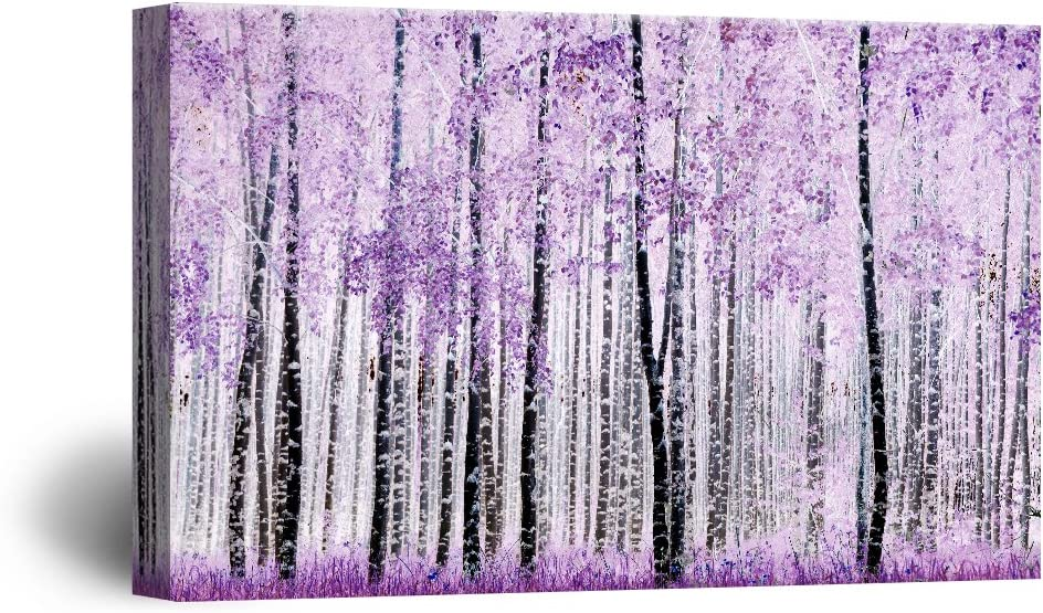wall26 Canvas Wall Art - Abstract Trees with Purple Leaves in The Forest - Giclee Print Gallery Wrap Modern Home Art Ready to Hang - 16x24 inches