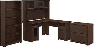 Bush Furniture Cabot L Desk with Hutch, Lateral File and 5 Shelf Bookcase, Modern Walnut