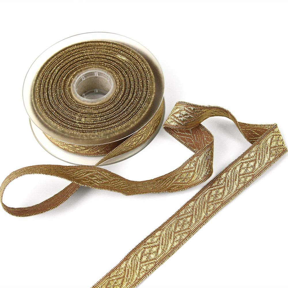 11 Yard Roll of Viktor 7/8'' Gold Lurex and Cotton Jacquard Military Trim, Made in Italy by Bias Bespoke