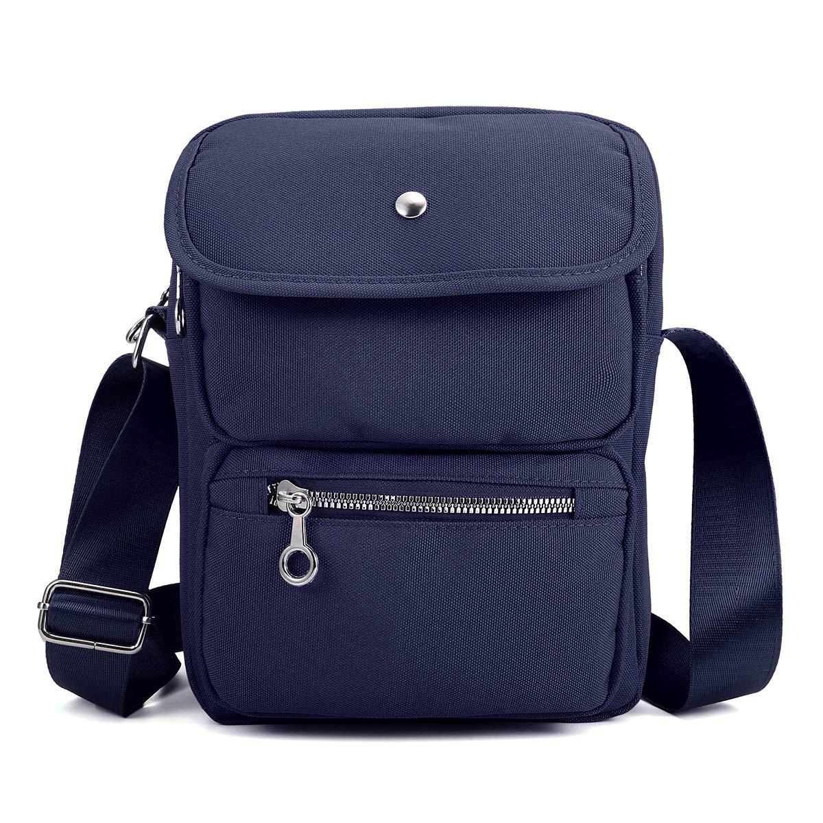 Nylon Shoulder Bag for Women, JOSEKO Multi-Pocketed Crossbody Purse Wallet Passport Travel Bag Messenger Bag Black